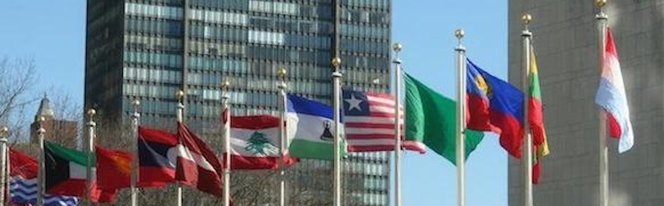 flags at United Nations building