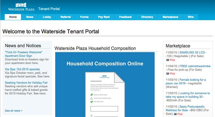 Tenant Portal Welcome Screen